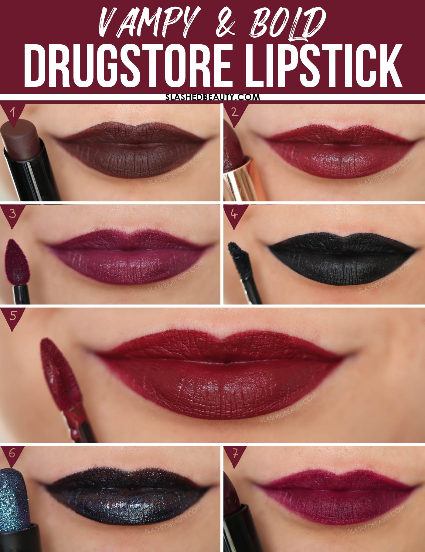 7 Vampy & Bold Drugstore Lipsticks for Fall | Deep Drugstore Lipstick Swatches | Slashed Beauty