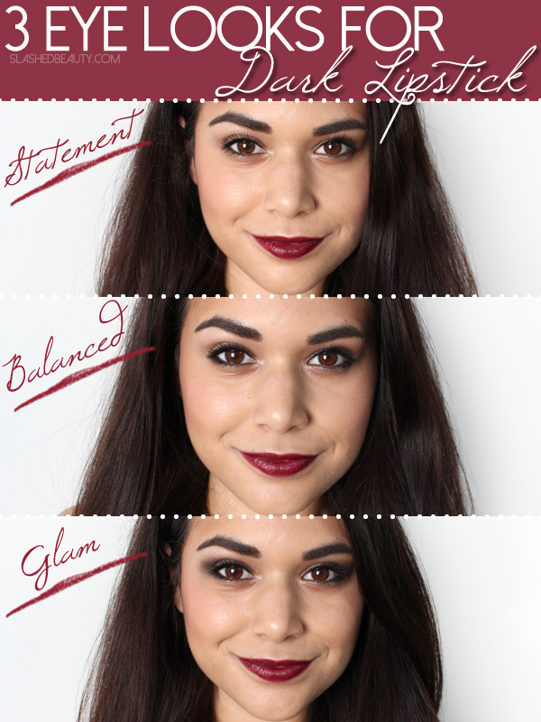 3 Easy Eyeshadow Tutorials for Dark Lipstick