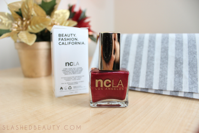 Review: 2014 Holiday Glossybox - NCLA Nail Lacquer in Satin Sheets, Velvet Ropes | Slashed Beauty