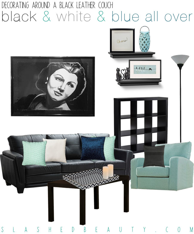 Decorating Around a Black Leather Couch - Black, White and Blue Color Scheme | Slashed Beauty