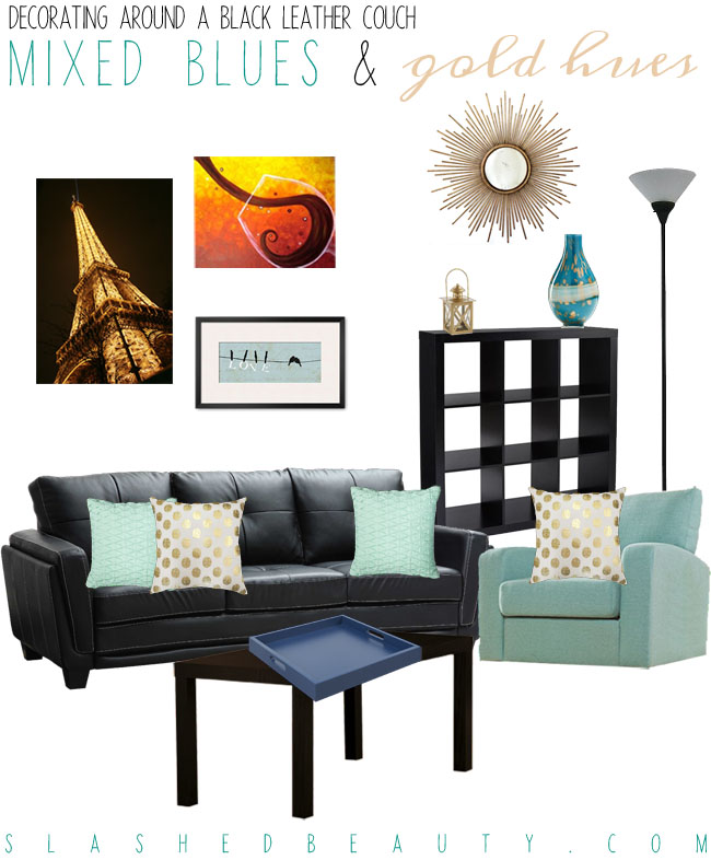 Decorating Around a Black Leather Couch - Blue and Gold Color Scheme | Slashed Beauty