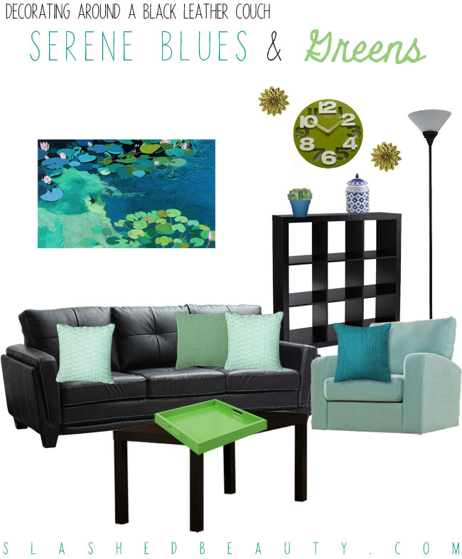 Decorating Around a Black Leather Couch - Blue and Green Color Scheme | Slashed Beauty