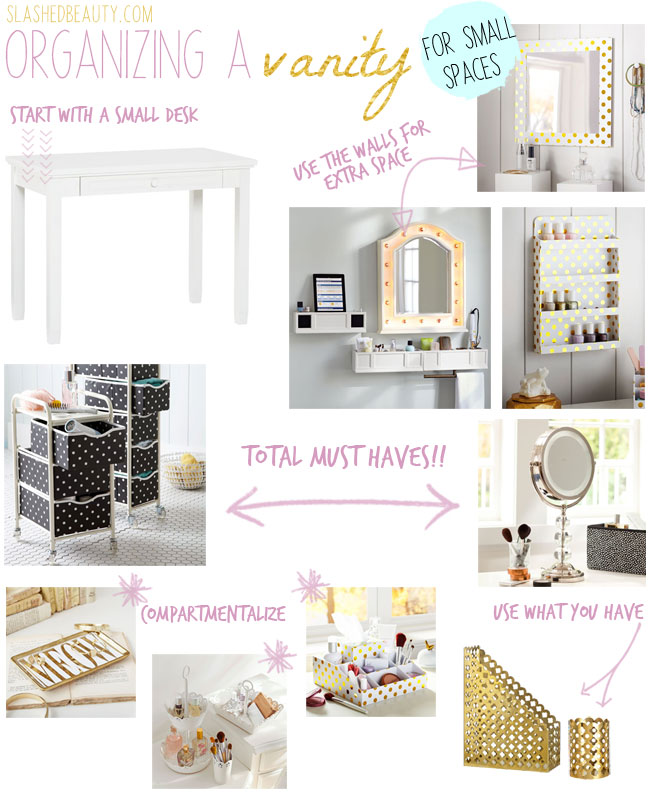 Organizing a Vanity for Small Spaces | Slashed Beauty