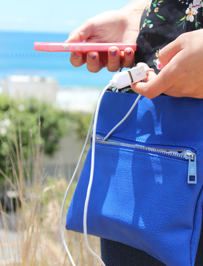 My Summer Purse Charges My Phone: Chic Buds Crossbody Power | Slashed Beauty