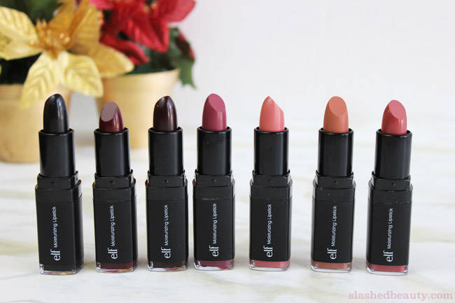 New e.l.f. Studio Moisturizing Lipsticks for Fall - Click through to see lip swatches of all the new shades! | Slashed Beauty