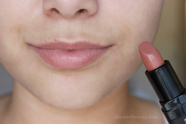 New e.l.f. Studio Moisturizing Lipsticks for Fall - Click through to see lip swatches of all the new shades! This one is called In The Nude | Slashed Beauty
