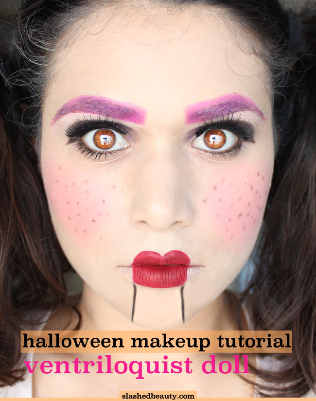 Ventriloquist Doll Halloween Makeup Tutorial - Easy and done with mostly drugstore and budget makeup! Click through to watch the tutorial and get the list of products you need. Originally found on Slashed Beauty