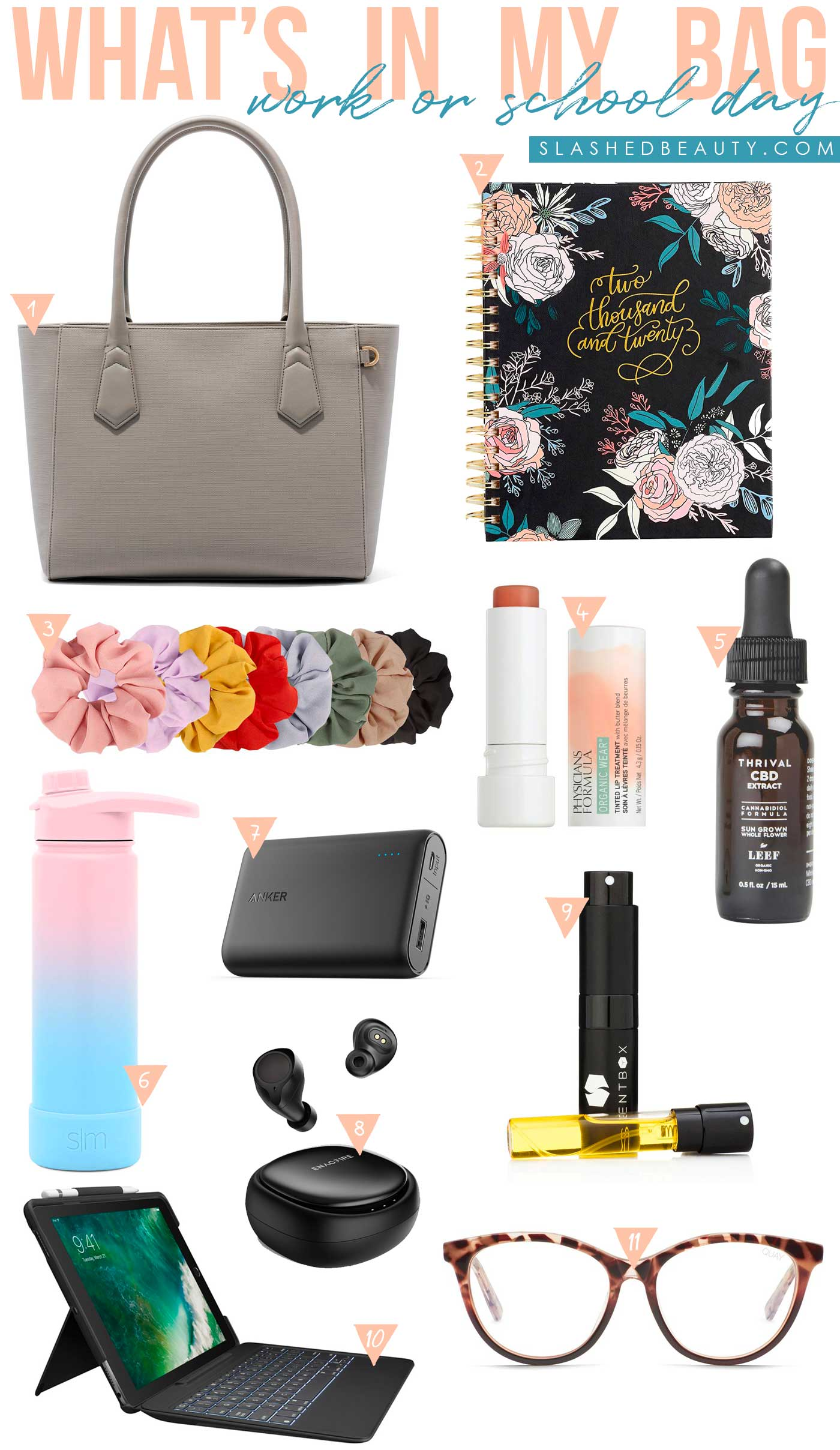 What's In My Bag: Work & School Days | What to pack in your bag if you spend all day at work and school | Slashed Beauty