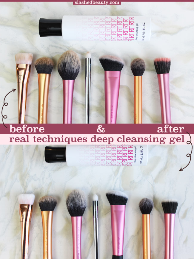 Before and after cleaning my makeup brushes with the Real Techniques Deep Cleansing Gel. Click through for the full review! | Slashed Beauty