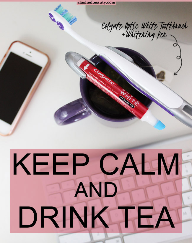 I can't get enough of tea during fall and winter. See how I'm combating staining with the Colgate Optic White Toothbrush + Whitening Pen | Slashed Beauty