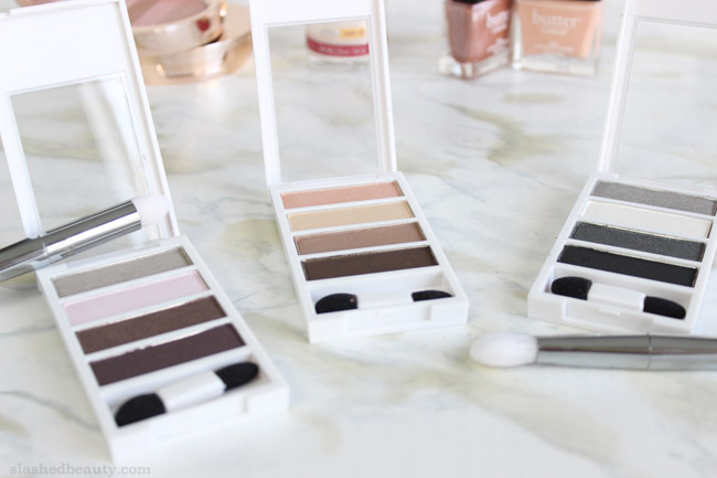 These drugstore eyeshadow palettes threw me for a loop with their high-end formula! Click through for swatches of the Neutrogena Nourishing Long Wear Eye Shadow + Built In Primer palettes in Smoky Steel, Classic Nude & Cool Plum | Slashed Beauty