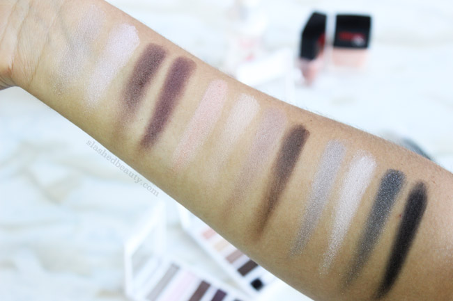 These drugstore eyeshadow palettes threw me for a loop with their high-end formula! Click through for swatches of the Neutrogena Nourishing Long Wear Eye Shadow + Built In Primer palettes in Smoky Steel, Classic Nude & Cool Plum   Slashed Beauty