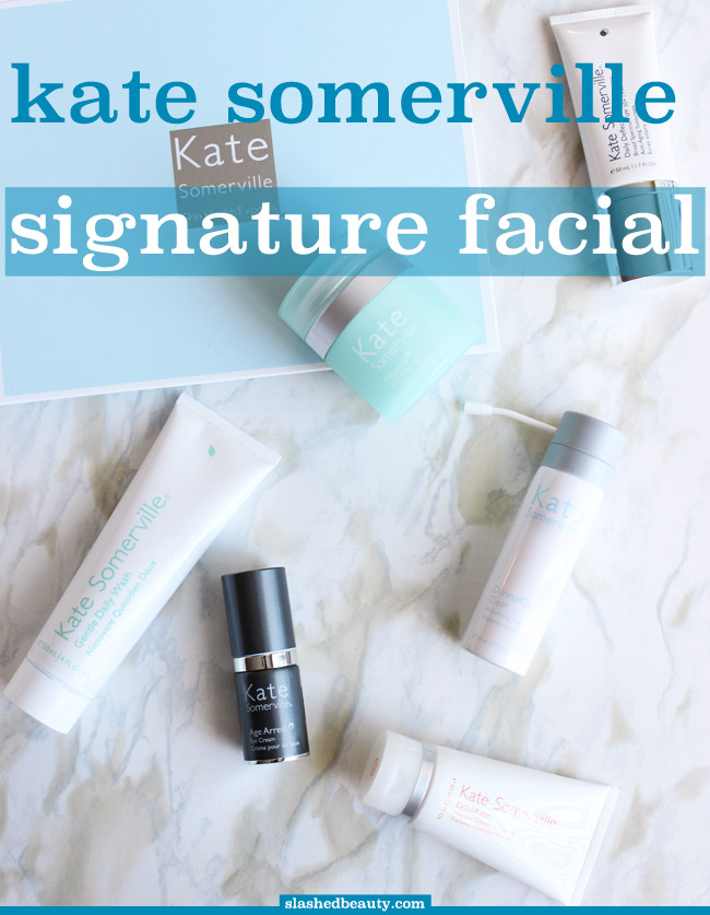 If you're looking to relax while also giving your skin a treat, check out the Kate Somerville Signature Facial and products... your face will thank you! Click through for my review of the facial. | Slashed Beauty