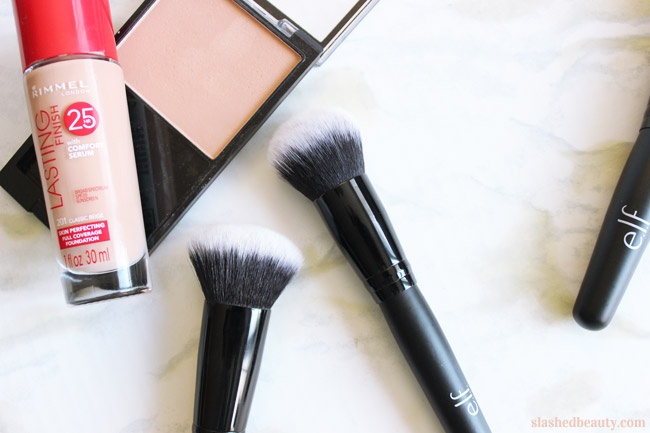 e.l.f. just released a ton of new affordable makeup brushes. Click through to see which ones you need ASAP! These ones are the Selfie Ready Powder Blurring Brush and the Selfie Ready Foundation Blurring Brush.