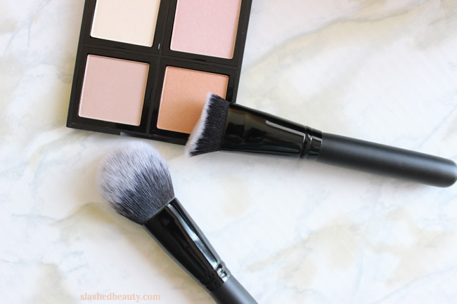 e.l.f. just released a ton of new affordable makeup brushes. Click through to see which ones you need ASAP! These are the Flawless Face Brush and the Sculpting Face Brush.