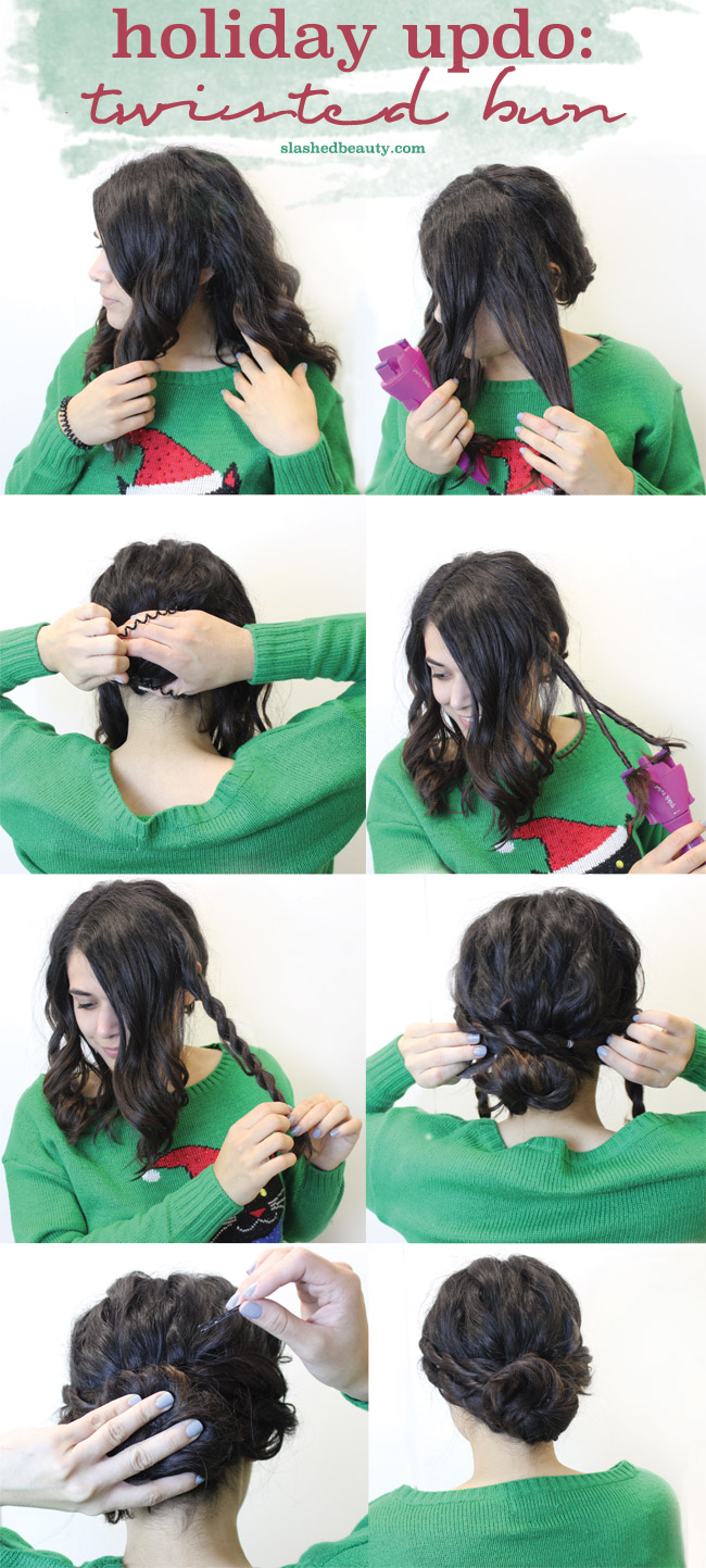 Click through for the step by step details on how to create this twisted bun updo as a versatile holiday hairstyle.