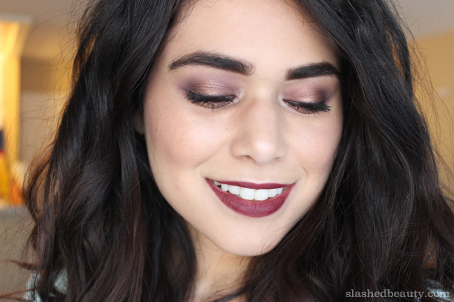 Holiday Party Makeup done with the Morphe 35W palette and the e.l.f. Matte Lip Color in Scarlet Night. Click through for the full tutorial.