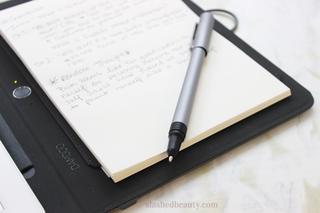 I prefer to take handwritten notes, plans and sketches. The Bamboo Spark lets me digitize them so I can access them across all my devices. Click through to read more about how it works! | Slashed Beauty