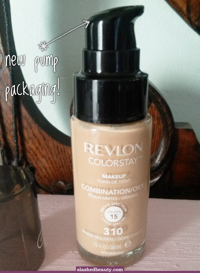 Public Makeup Announcement: Revlon ColorStay Foundation now has a pump! Click through for the details and how to tell the new and old bottles apart.