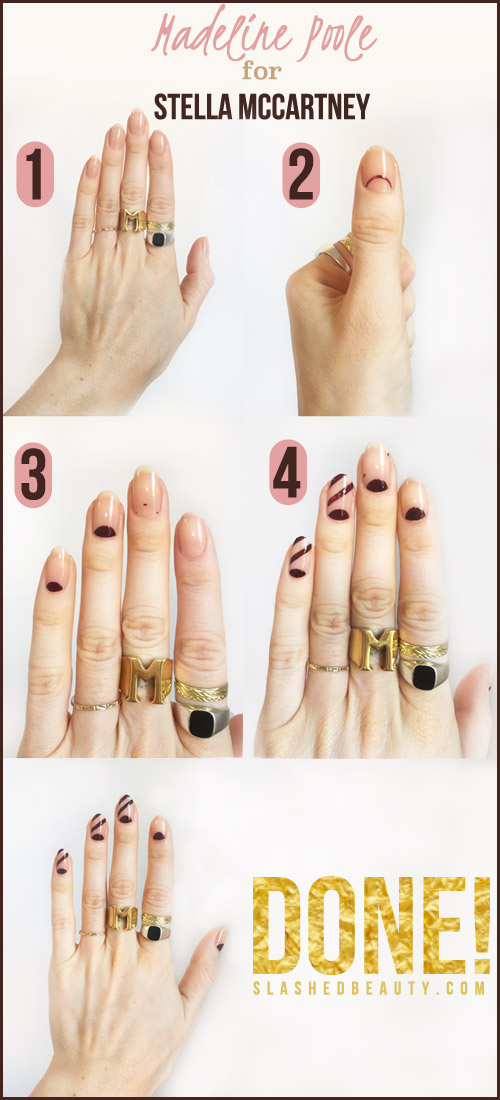 Click through for the steps to recreate this negative space nail look from Stella McCartney's Autumn 2016 Show.