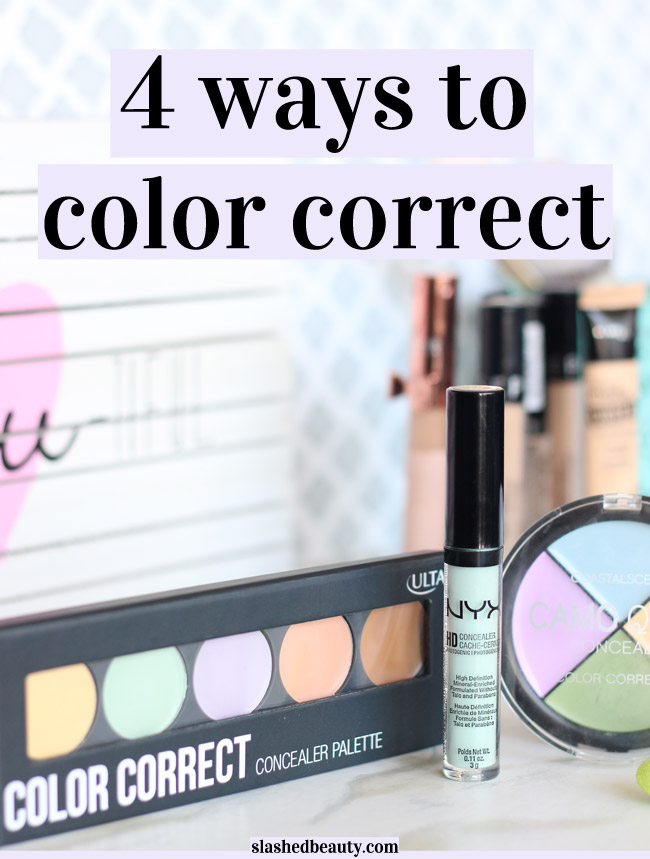Learn four different ways to color correct with concealer to camoflauge problem areas under your foundation. | Slashed Beauty