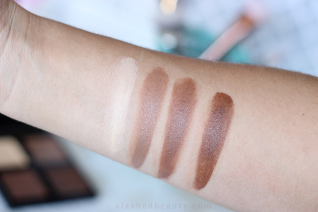 Swatches of the e.l.f. Cream Contour Palette. Click through to read how it works on my combo skin! | Slashed Beauty