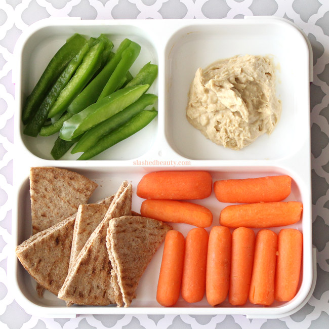 Need some healthy snack inspiration for work or school? Here are three snack pack ideas that will keep you full and on track with your fitness goals! Bell Pepper, Pita, Carrots & Hummus | Slashed Beauty