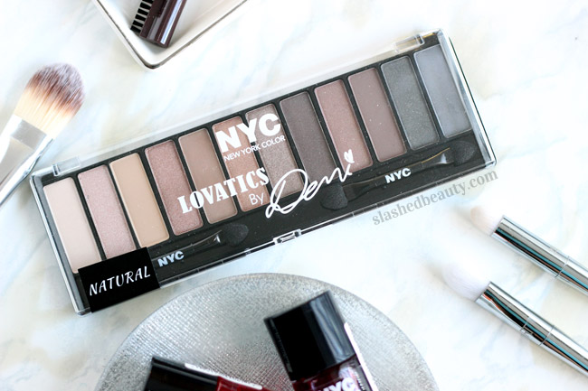 See swatches of the new NYC Lovatics by Demi Natural Eyeshadow Palette. You won't believe the quality of these affordable shadows! | Slashed Beauty