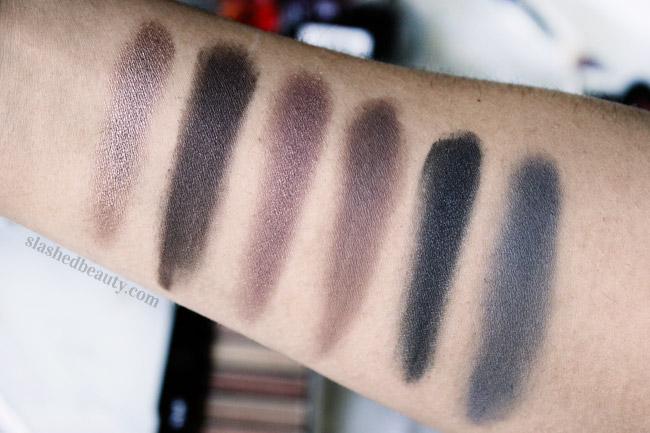 Swatches from the NYC Lovatics by Demi Natural Eyeshadow Palette. Click through to see why this is one of my new favorite drugstore products. | Slashed Beauty