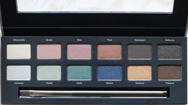 Check out swatches of the new Ulta Beauty Prismatic Eye Shadow Palette with 12 new shimmery shades. | Slashed Beauty
