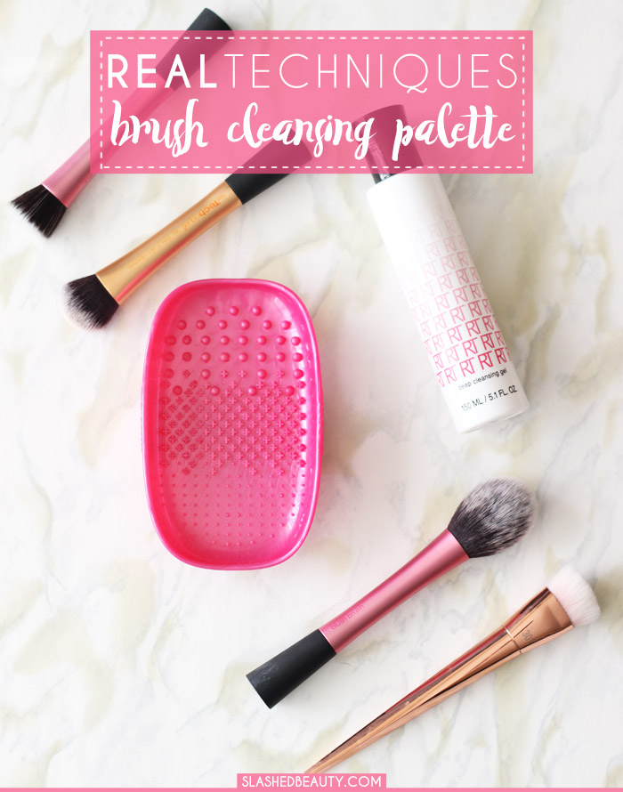 The Real Techniques Cleansing Brush makes washing makeup brushes a breeze. See before-and-after brush photos in this post! | Slashed Beauty
