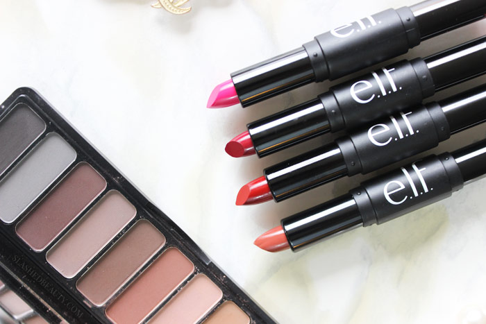 The new e.l.f. Day to Night Lipstick Duos are perfect for building up your collection, or traveling. See swatches of all four duos! | Slashed Beauty