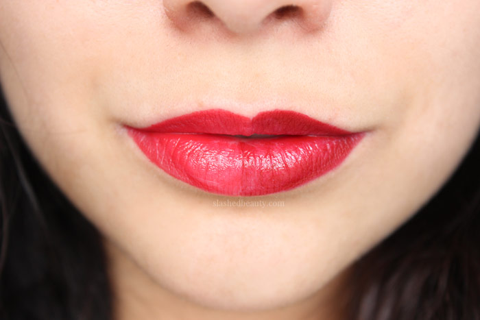 The new e.l.f. Day to Night Lipstick Duos are perfect for building up your collection, or traveling. See swatches of all four duos! This one is in Red Hot Reds. | Slashed Beauty