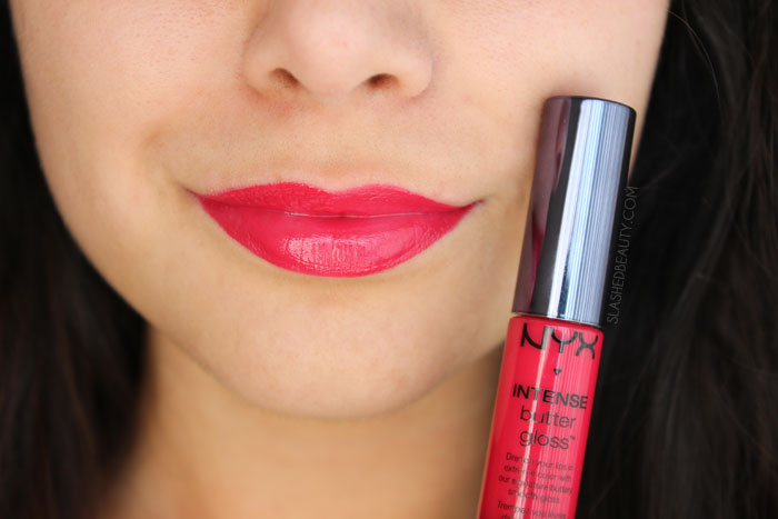 What's the difference between the NYX Butter Gloss and NYX Intense Butter Gloss? Read the review and see swatches of four other spring-ready shades! This is the shade CHERRY CUSTARD | Slashed Beauty