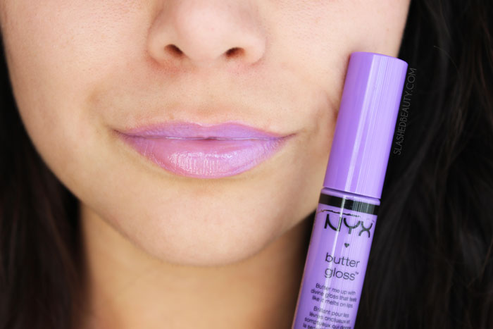 What's the difference between the NYX Butter Gloss and NYX Intense Butter Gloss? Read the review and see swatches of four other spring-ready shades! This is the shade SUGAR PLUM | Slashed Beauty
