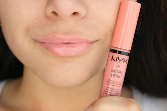 What's the difference between the NYX Butter Gloss and NYX Intense Butter Gloss? Read the review and see swatches of four other spring-ready shades! This is the shade SUNDAY MIMOSA | Slashed Beauty