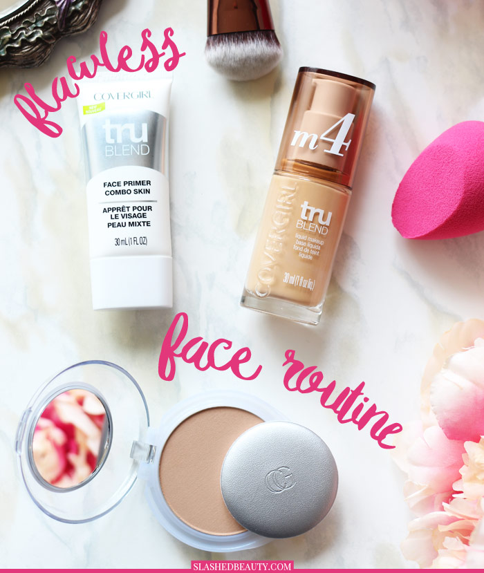 Get a flawless face with this easy three-step drugstore foundation routine. Plus, get 20% off all of the products! | Slashed Beauty