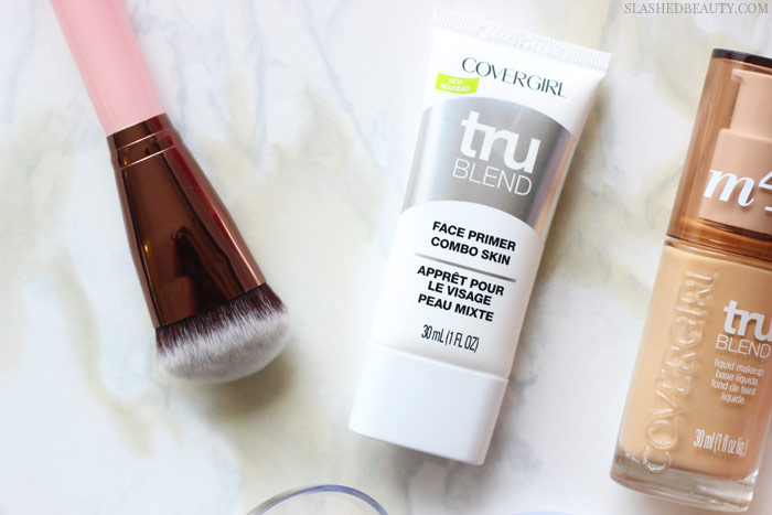 Get a flawless face with this easy three-step drugstore foundation routine. Plus, get 20% off all of the products!   Slashed Beauty