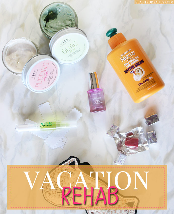 Get back in the swing of things with these Vacation Rehab products to do damage control for healthy hair, skin and nails. | Slashed Beauty