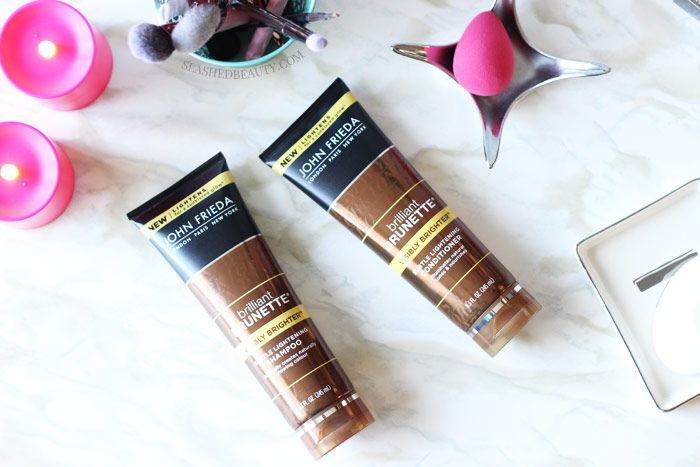 The new Brilliant Brunette® Visibly Brighter™ Products claim to be able to lighten hair in just a few washes-- no salon visit needed! | Slashed Beauty