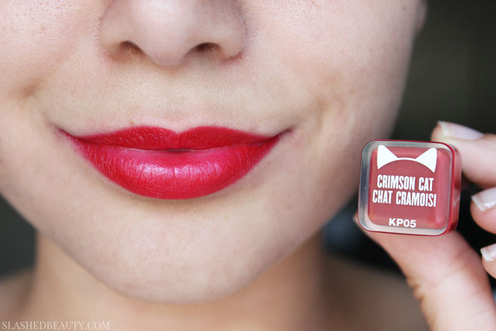 See swatches of the new lipsticks from the Katy Kat Matte Collection, Katy Perry's collaboration with CoverGirl. This shade is Crimson Cat. | Slashed Beauty