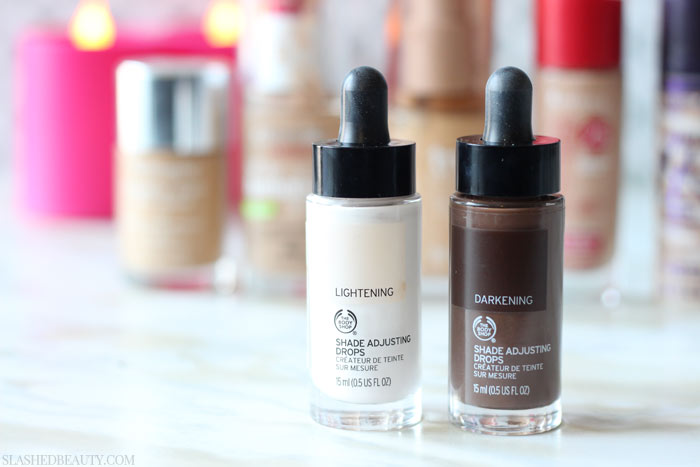 See swatches of how The Body Shop Shade Adjusting Drops affects my favorite foundation that doesn't match my skin tone! | Slashed Beauty