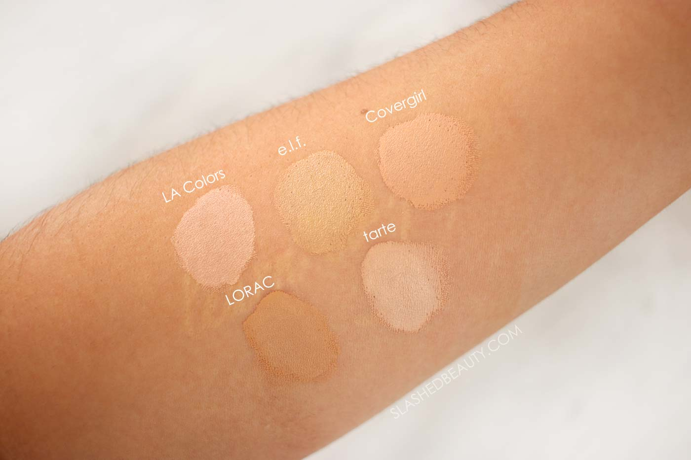 Light/Medium Concealer Swatches | The 5 Best Full Coverage Concealers for Every Budget | Best Drugstore Concealer | Slashed Beauty