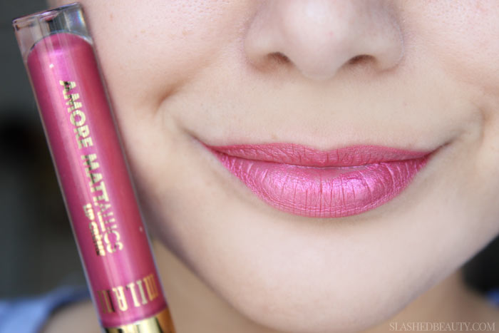 See swatches of all eight limited edition Milani Mattallics Lip Cremes! This shade is Cinemattic Kiss. | Slashed Beauty