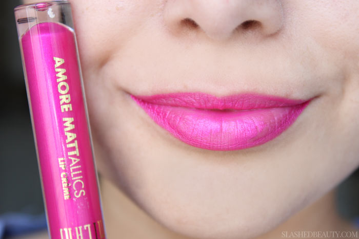 See swatches of all eight limited edition Milani Mattallics Lip Cremes! This shade is Dramattic Diva. | Slashed Beauty