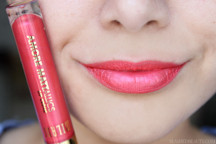 See swatches of all eight limited edition Milani Mattallics Lip Cremes! This shade is Matte About You. | Slashed Beauty