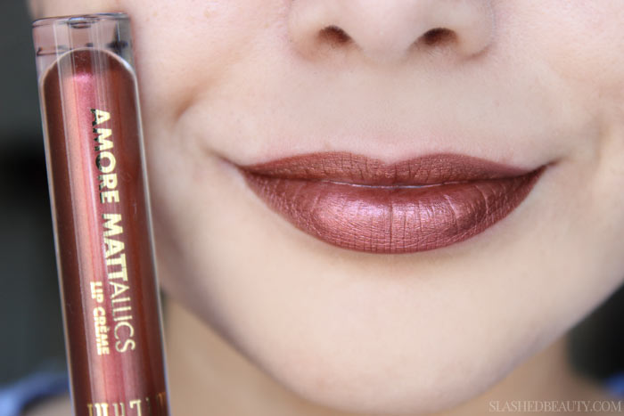 See swatches of all eight limited edition Milani Mattallics Lip Cremes! This shade is Matterialistic. | Slashed Beauty