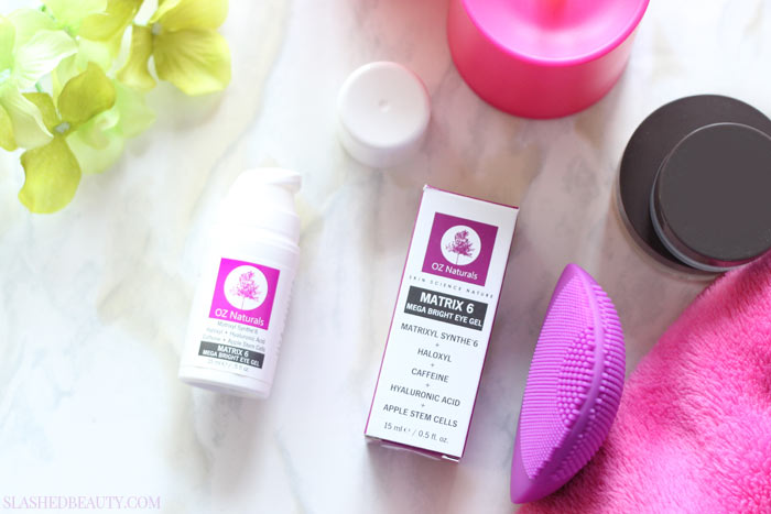 Stop using eye creams that only claim to do it all, and grab this one that actually DOES! Ingredients matter, check out what's inside the OZNaturals Matrix 5 Mega Bright Eye Gel | Slashed Beauty
