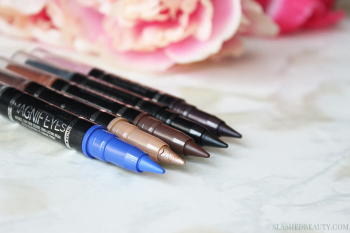 The new Rimmel Magnif'eyes Double Ended Shadow + Liners are perfect when you want a 5 minute eye makeup look that will last all day long. See swatches of all five duos. | Slashed Beauty