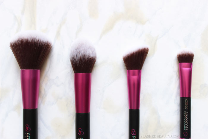 Take a look at the new affordable makeup brushes from City Color Cosmetics! They're cruelty free and won't break the bank. | Slashed Beauty